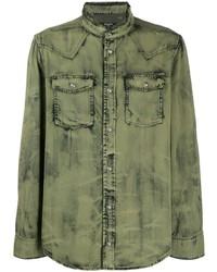 Мужская оливковая джинсовая рубашка от Balmain