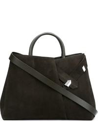Оливковая замшевая большая сумка