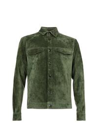 Мужская оливковая замшевая куртка-рубашка от Ajmone