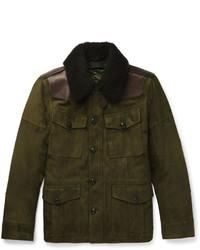 Оливковая замшевая полевая куртка