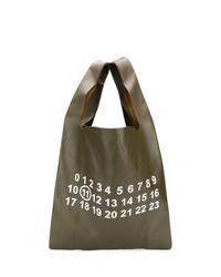 Оливковая кожаная большая сумка с принтом