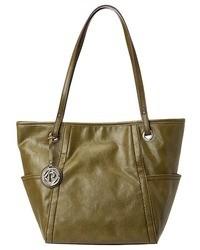 Оливковая кожаная большая сумка