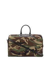 Оливковая кожаная дорожная сумка с камуфляжным принтом