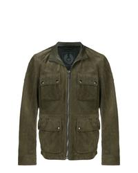 Оливковая кожаная полевая куртка