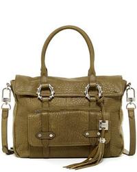 Оливковая кожаная сумка-саквояж