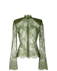 Оливковая кружевная блузка с длинным рукавом от Off-White