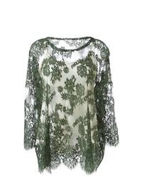 Оливковая кружевная блузка с длинным рукавом от P.A.R.O.S.H.