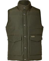 Оливковая куртка без рукавов