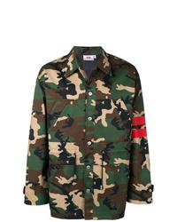 Мужская оливковая куртка в стиле милитари с камуфляжным принтом от Gcds