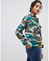 Оливковая куртка в стиле милитари с камуфляжным принтом от J.Crew Mercantile
