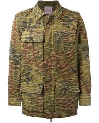 Мужская оливковая куртка в стиле милитари с камуфляжным принтом от Palm Angels