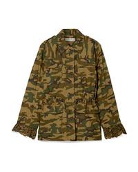 Оливковая куртка в стиле милитари с камуфляжным принтом от Sea
