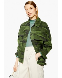 Оливковая куртка в стиле милитари с камуфляжным принтом от Topshop