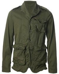 Оливковая куртка в стиле милитари