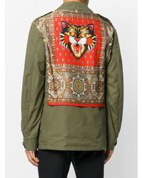 Мужская оливковая куртка в стиле милитари от Gucci