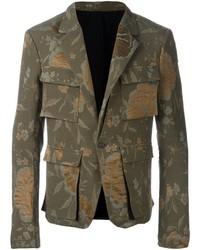 Мужская оливковая куртка в стиле милитари от Haider Ackermann