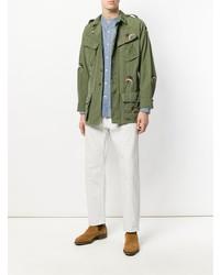 Мужская оливковая куртка в стиле милитари от As65