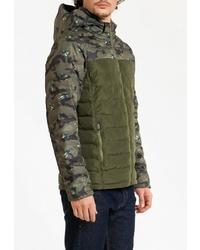 Мужская оливковая куртка-пуховик с камуфляжным принтом от Amimoda