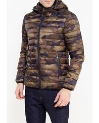 Мужская оливковая куртка-пуховик с камуфляжным принтом от Chromosome