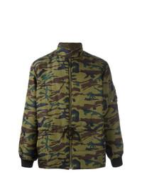 Мужская оливковая куртка-пуховик с камуфляжным принтом от Jean Paul Gaultier Vintage