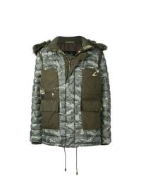 Мужская оливковая куртка-пуховик с камуфляжным принтом от Mr & Mrs Italy