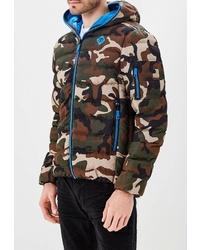 Мужская оливковая куртка-пуховик с камуфляжным принтом от OMBRE