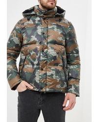 Мужская оливковая куртка-пуховик с камуфляжным принтом от Penfield