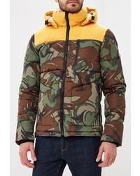 Мужская оливковая куртка-пуховик с камуфляжным принтом от Superdry