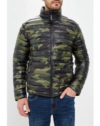 Мужская оливковая куртка-пуховик с камуфляжным принтом от Top Secret