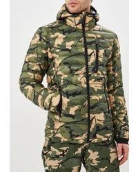 Мужская оливковая куртка-пуховик с камуфляжным принтом от Wear Colour