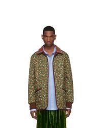 Мужская оливковая куртка-пуховик с цветочным принтом от Gucci