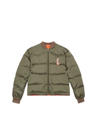 Мужская оливковая куртка-пуховик от Gucci