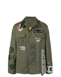 Мужская оливковая куртка-рубашка с вышивкой от Dolce & Gabbana