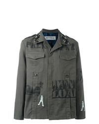 Оливковая куртка-рубашка с принтом