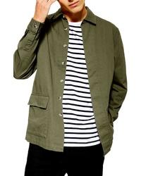 Оливковая куртка-рубашка