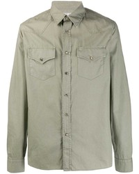 Мужская оливковая куртка-рубашка от Brunello Cucinelli