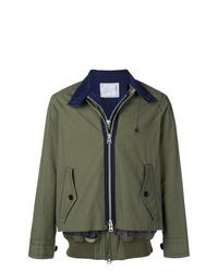 Мужская оливковая куртка-рубашка от Sacai
