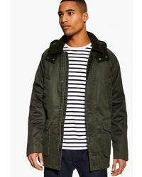 Оливковая куртка с воротником и на пуговицах от Topman