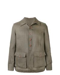 Оливковая льняная куртка-рубашка
