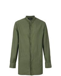 Оливковая льняная рубашка с длинным рукавом