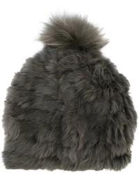 Женская оливковая меховая шапка от Yves Salomon