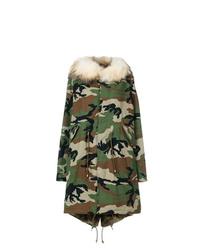 Женская оливковая парка с камуфляжным принтом от Furs66