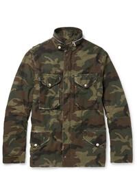 Оливковая полевая куртка с камуфляжным принтом