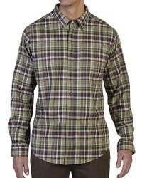 Оливковая рубашка с длинным рукавом в шотландскую клетку
