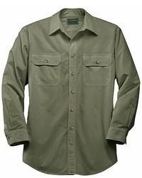 Оливковая рубашка с длинным рукавом