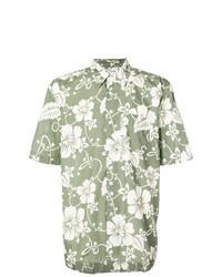 Оливковая рубашка с коротким рукавом с цветочным принтом