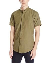 Оливковая рубашка с коротким рукавом