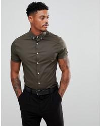 Мужская оливковая рубашка с коротким рукавом от ASOS DESIGN