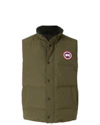 Мужская оливковая стеганая куртка без рукавов от Canada Goose