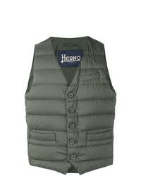 Мужская оливковая стеганая куртка без рукавов от Herno